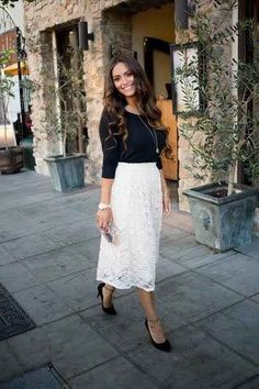 White lace midi skirt outfit