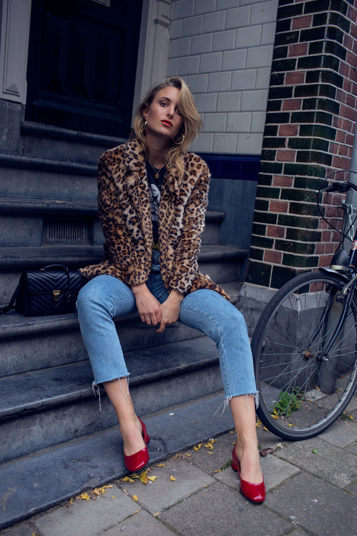 Leopard print and red shoes