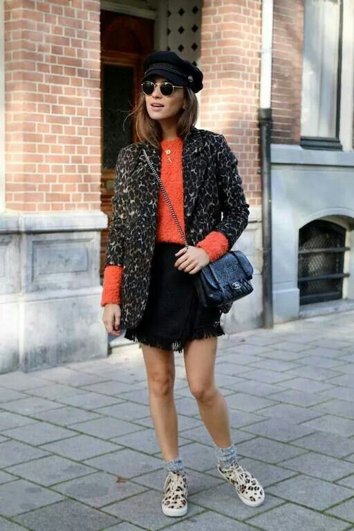 little black Animal print Outfits With Leopard Print Jackets