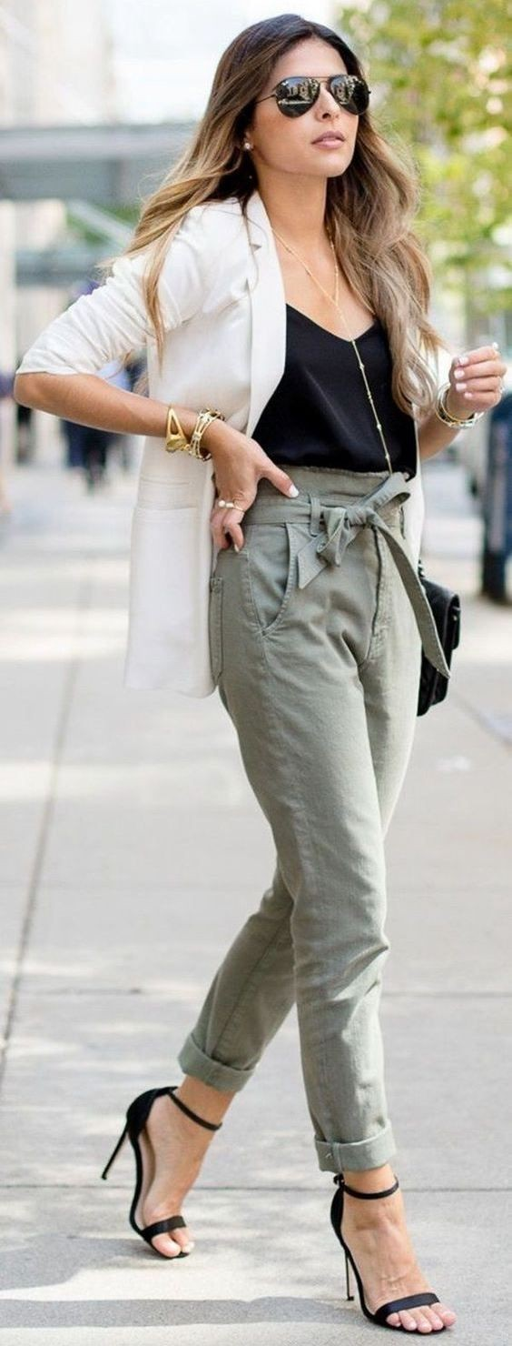Paperbag pants and blazer, Casual wear