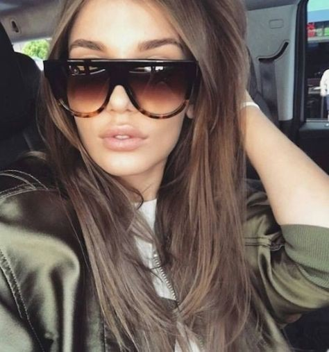 Women Sunglasses Ideas, Long hair, Layered hair