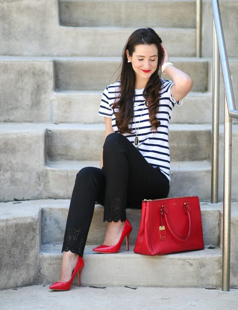 Red heels business attire, Business casual