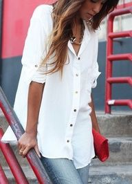 Oversized white button up shirt with jeans