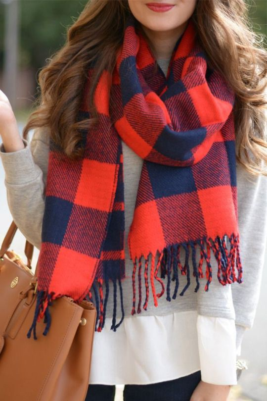 Special moment checkered scarf, Winter clothing