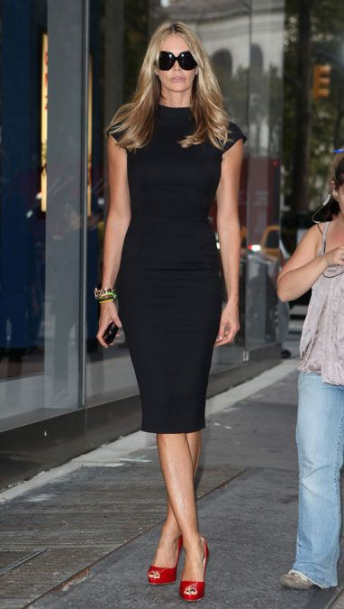 Black midi dress with red heels
