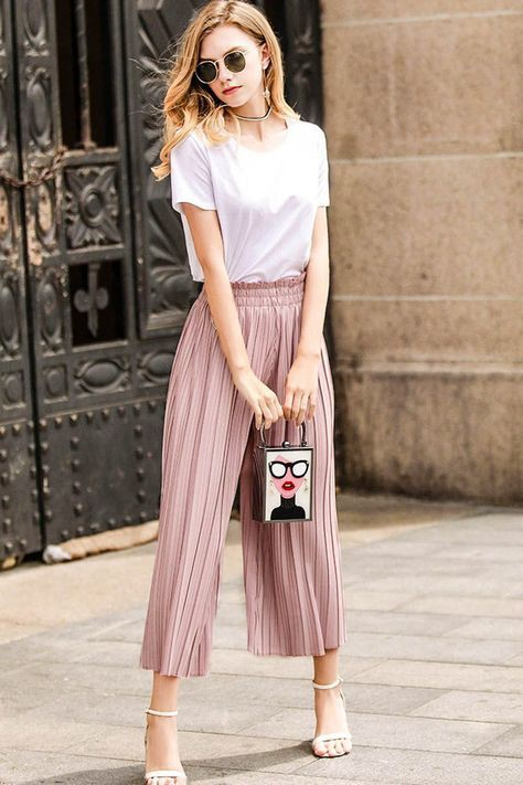 Not to miss these pleated culottes outfit, Palazzo pants