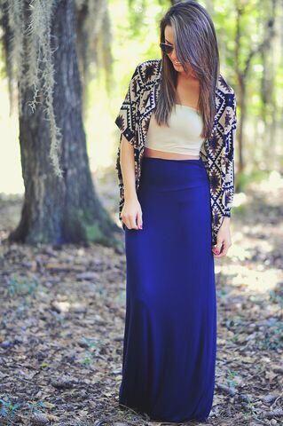 Kimono com saia longa, Crop top