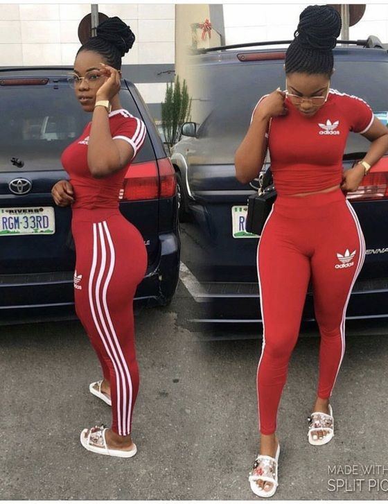 Red adidas leggings outfit, Crop top
