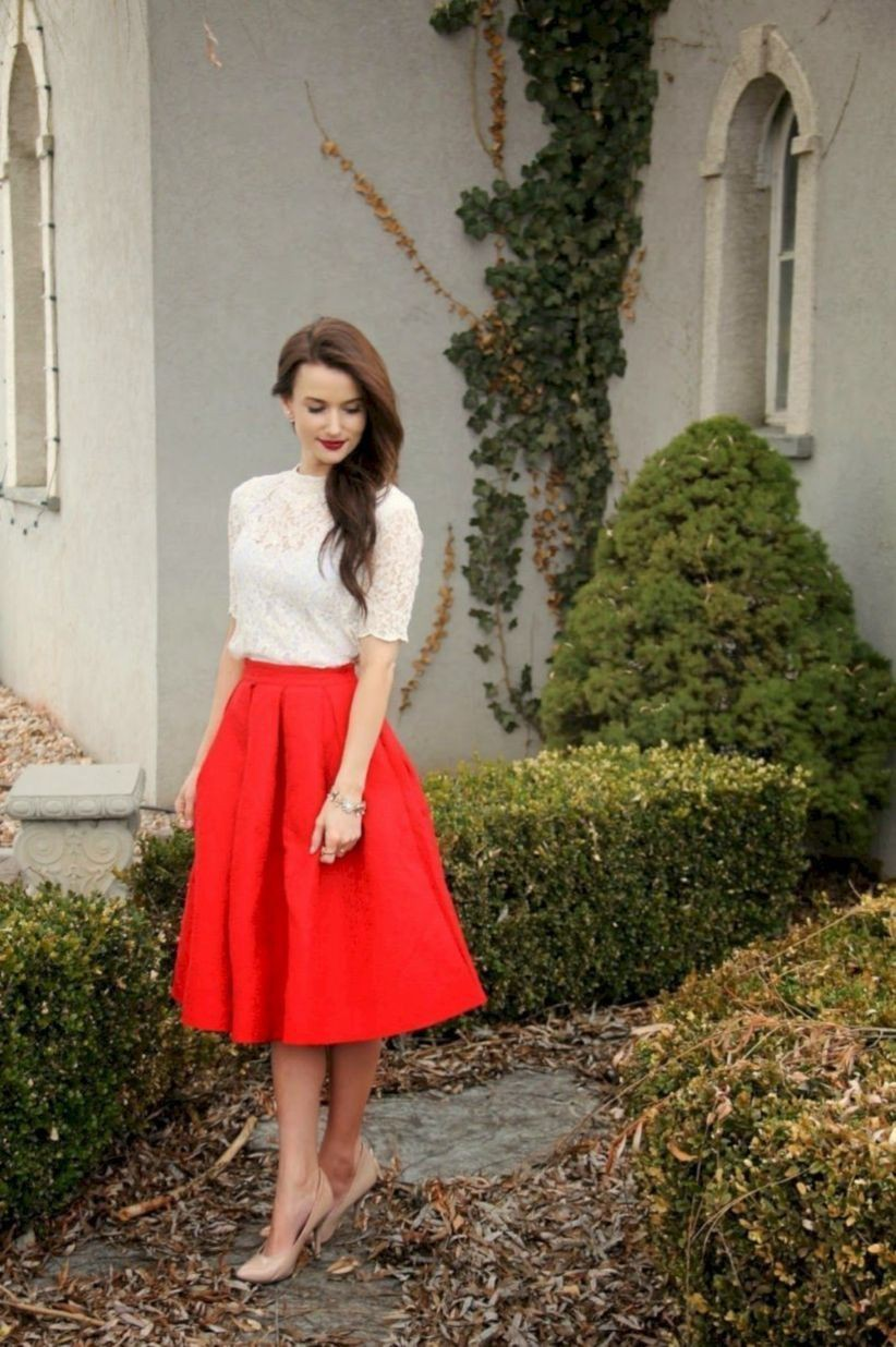 Red skirt christmas outfit, Casual wear
