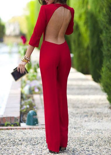 Check these finest collection of red backless jumpsuit, Backless dress