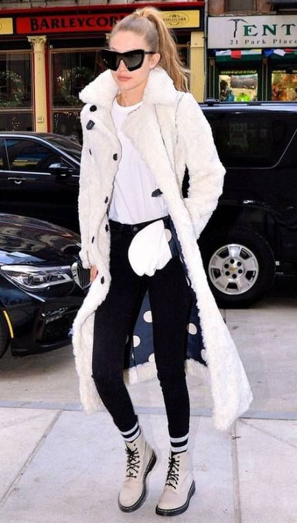 Street style white combat boots