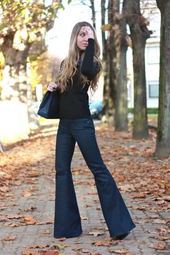 Flared jeans outfit winter, Denim skirt