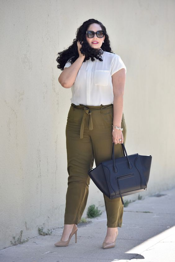 Olive green and tan outfit plus size