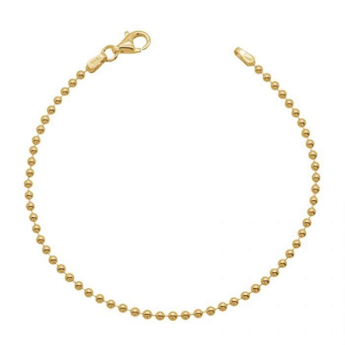 Yellow Gold Plated Sterling Silver 2mm Ball Bead Link Bracelet £15.50