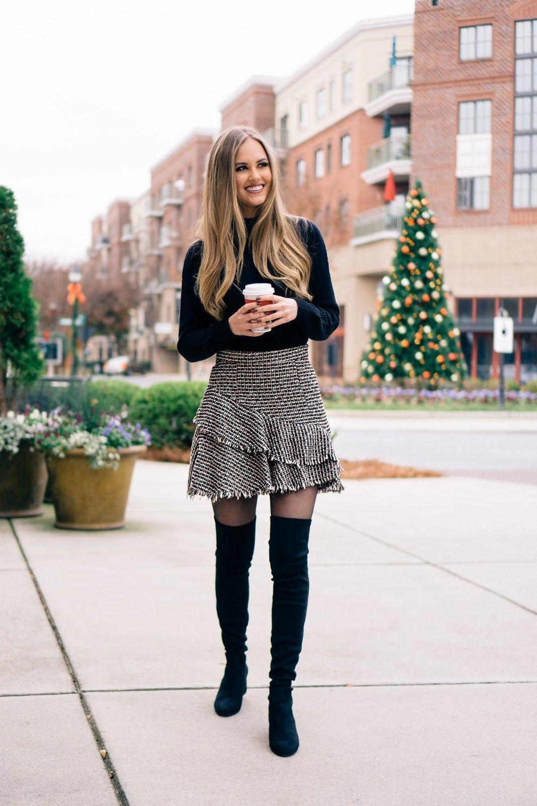 Tweed skirt outfit ideas, Over-the-knee boot