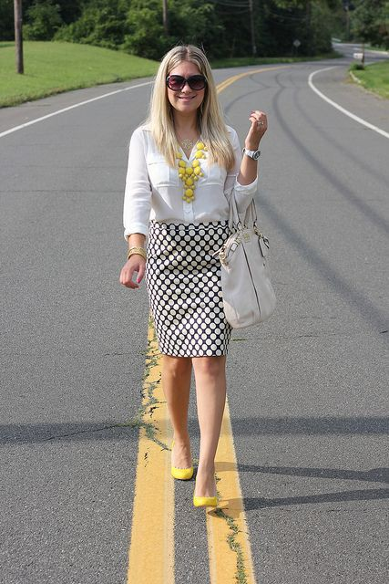 Outfits With Yellow Shoes, Twinset Striped Skirt, Polka dot
