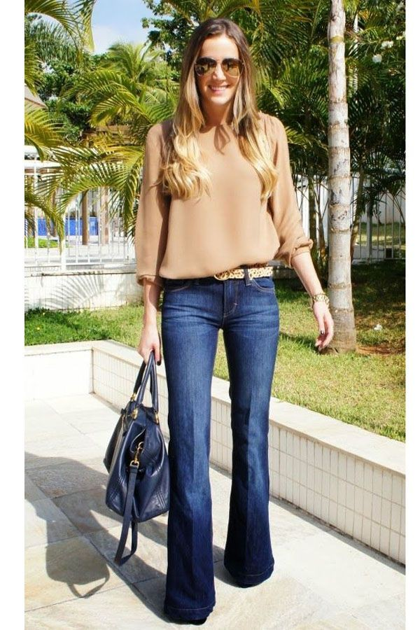 Inverno outfit jeans a zampa