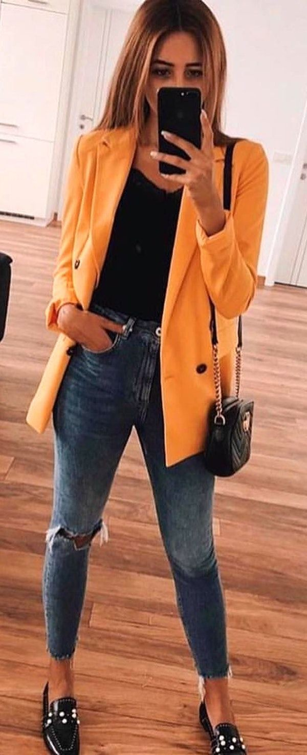 Explore yellow blazer outfit, Casual wear
