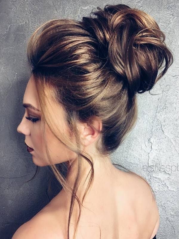 Girls most favorite high updo, Human hair color