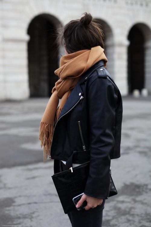Leather jacket and scarf outfit