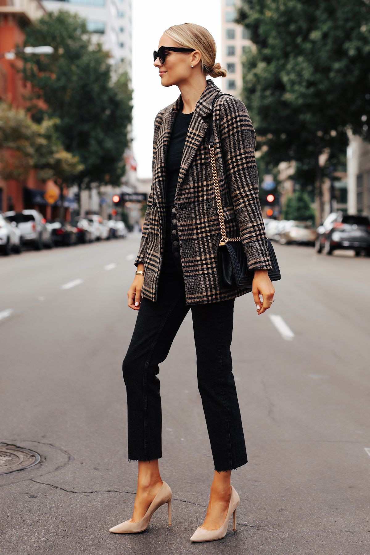 Brown plaid blazer outfit, Casual wear
