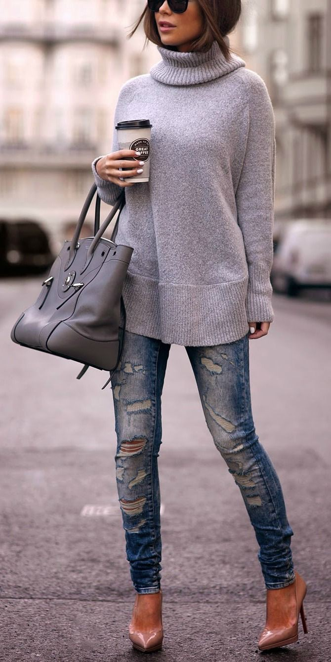 Teenagers top 20 outfit ideas grey turtleneck outfit, Polo neck