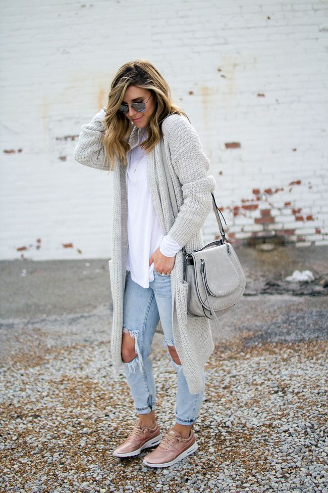 Outfits with long grey cardigan