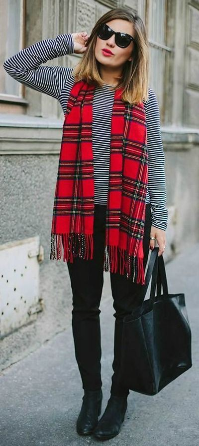 Red plaid scarf outfit, Casual wear