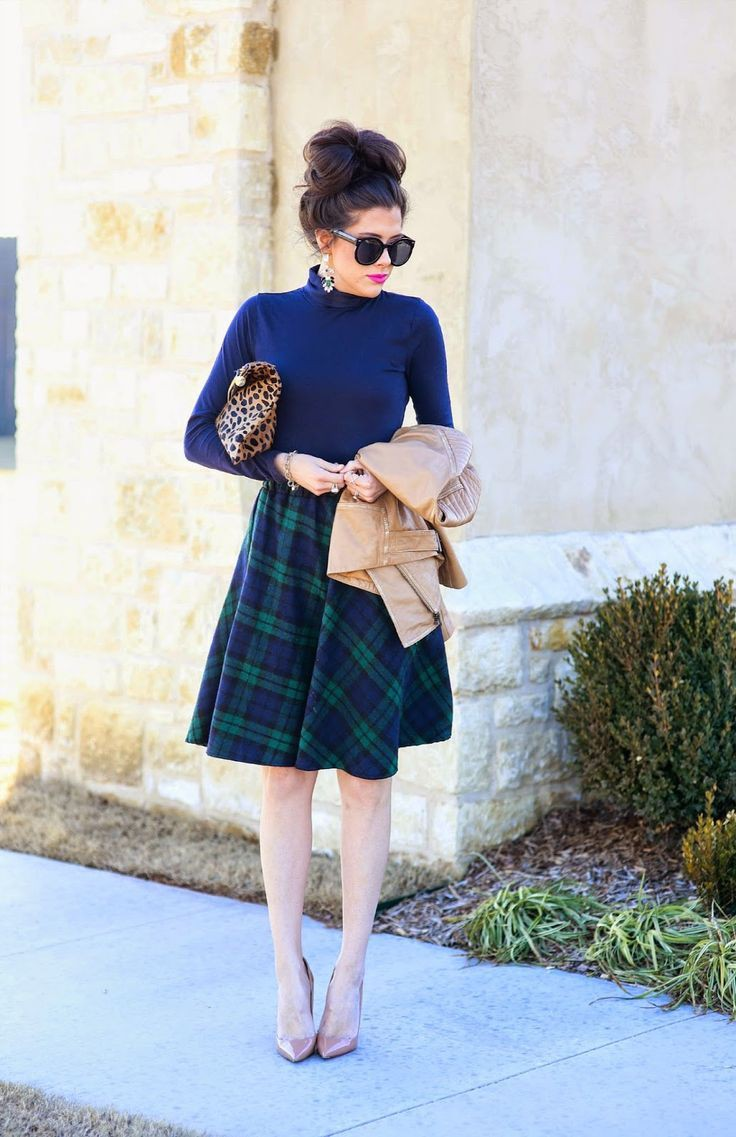 winter outfit with midi skirt