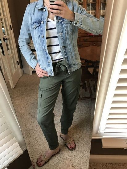 Green pants with blue striped shirt