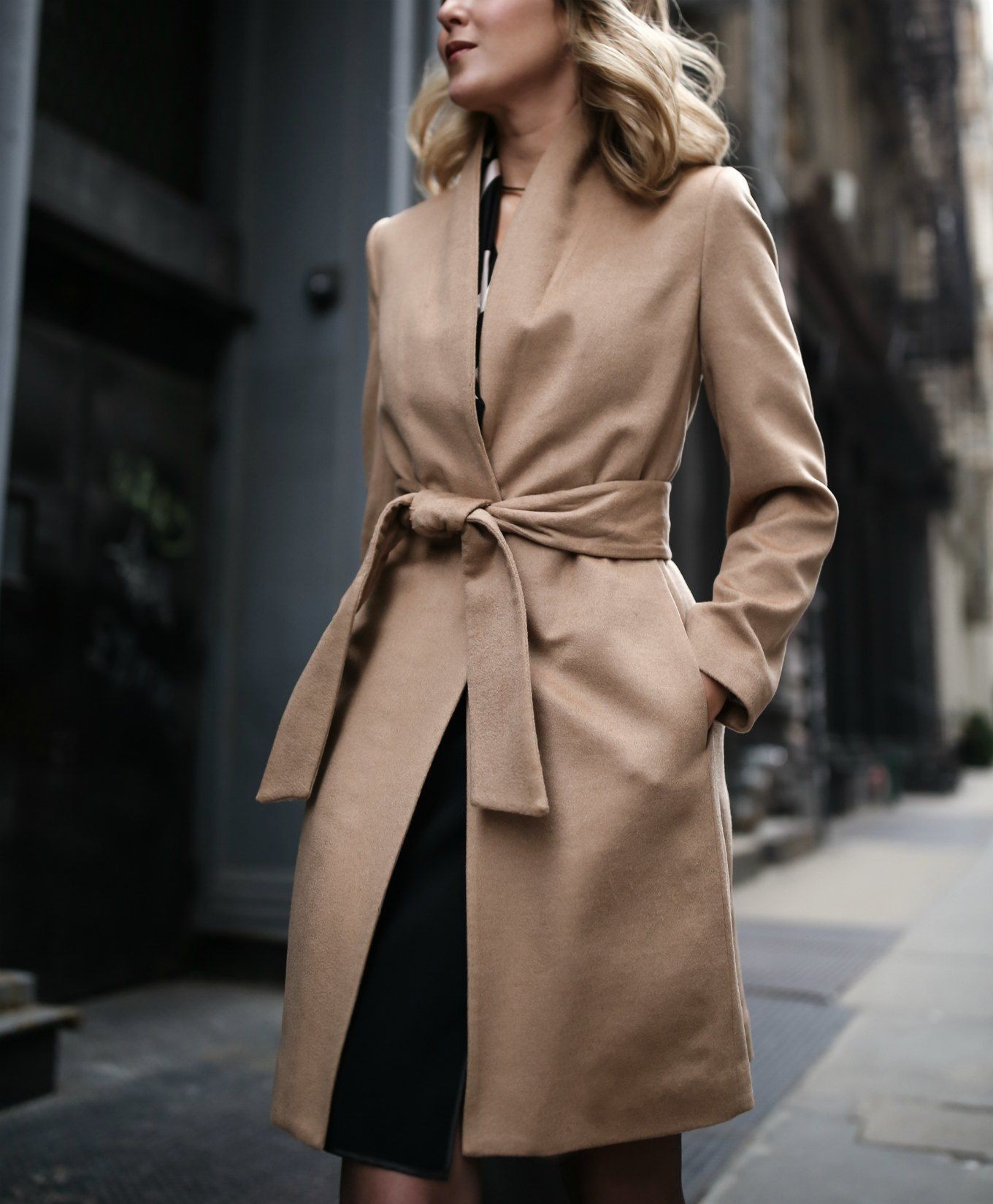 Sheath dress with long coat