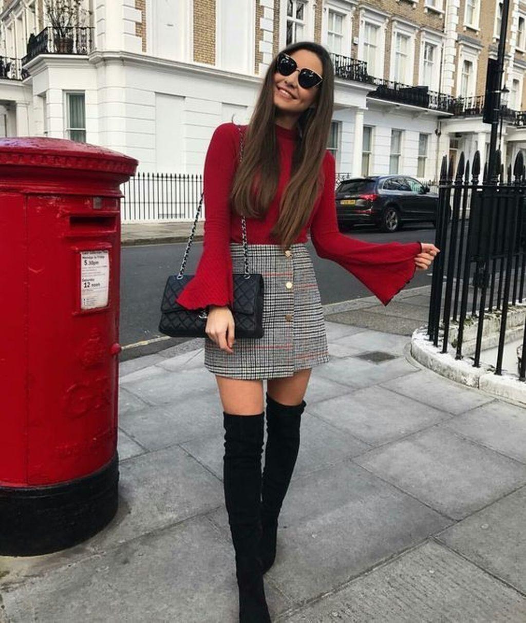 Look inverno saia xadrez, Skater Skirt