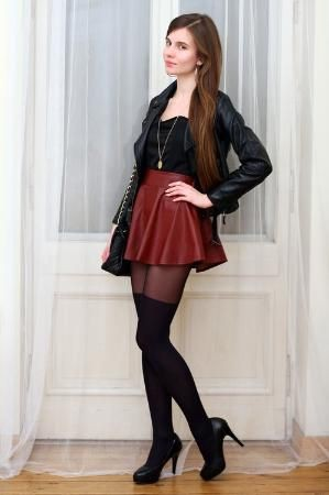 You must check these skirt tights sexy, Leather skirt