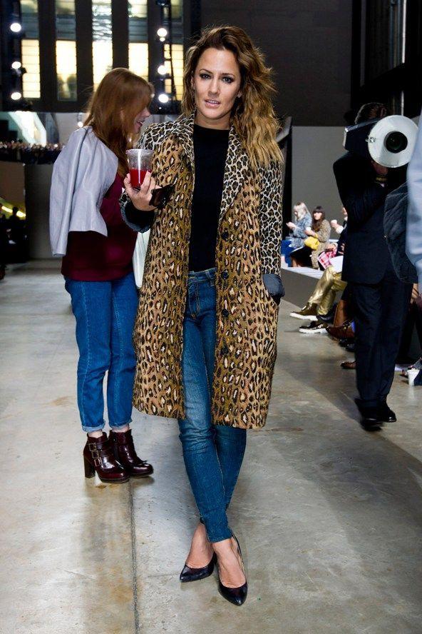 Caroline flack leopard coat, Caroline Flack