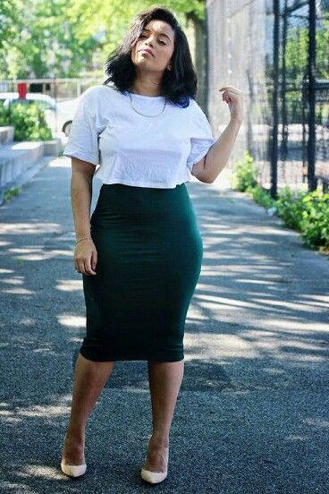 Simple Pencil skirt outfit plus size