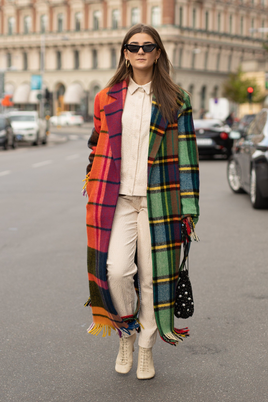 Check color blocking long coat