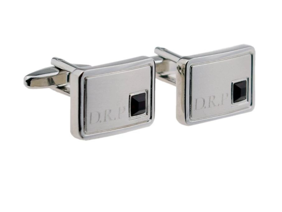 INITIAL PERSONALISED JULY BIRTHSTONE (RUBY RED) CUFFLINKS £24.99