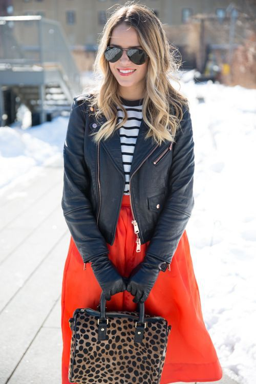 Stylish Winter Red Skirt Outfit
