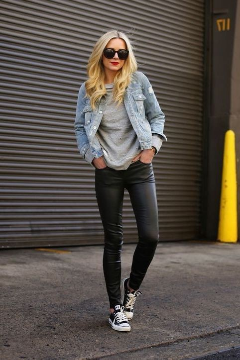 Nice suggestions for jeansjacke und leggings, Leather jacket