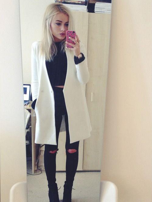 Outfits tumblr con sacos largos