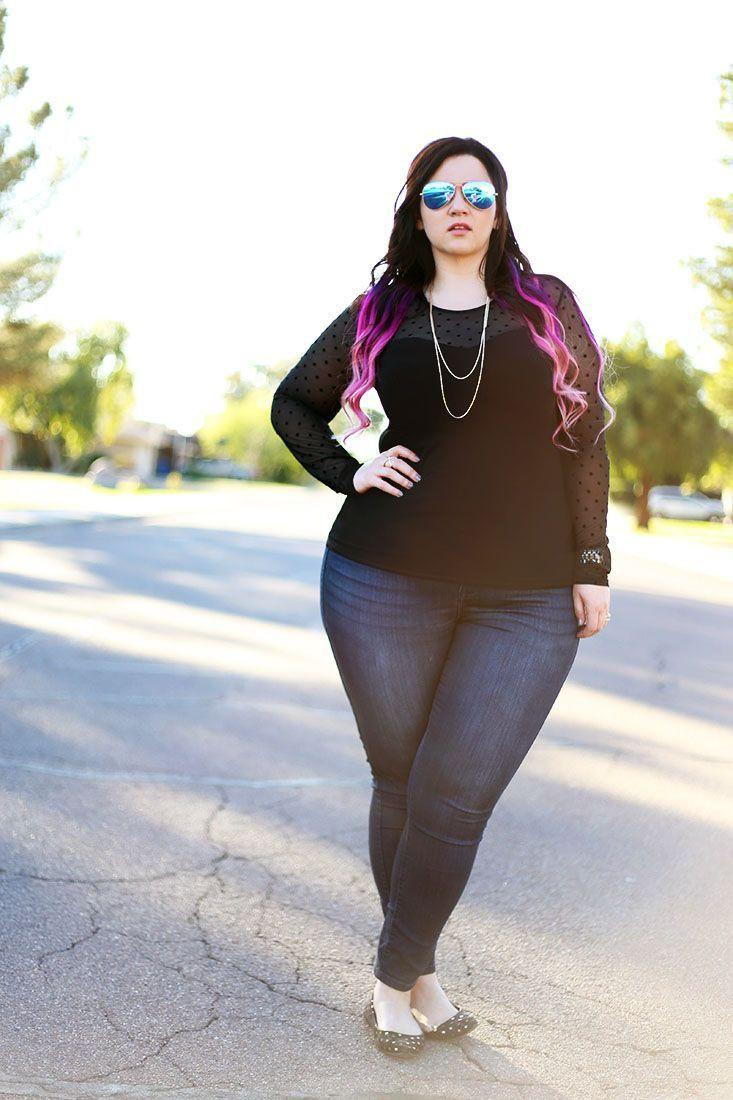 Woman wearing plus size jeans