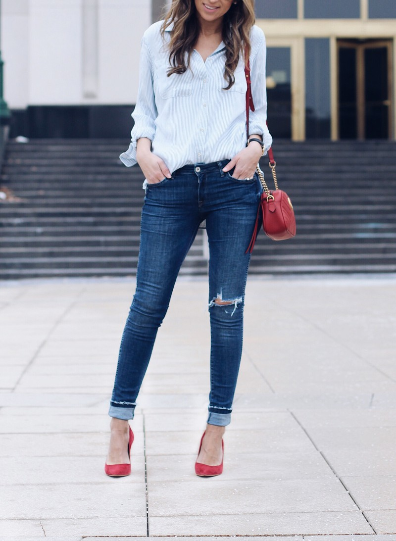 Outfits With Red Shoes, Dress shirt, Mom jeans