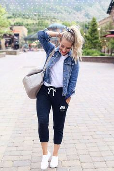 Joggers and jean jacket