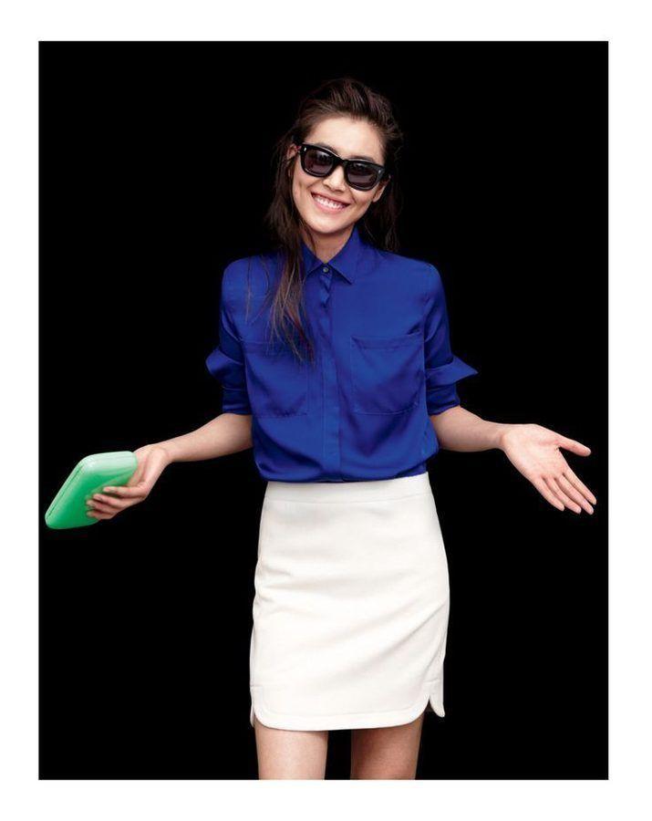 Royal blue shirt and white skirt