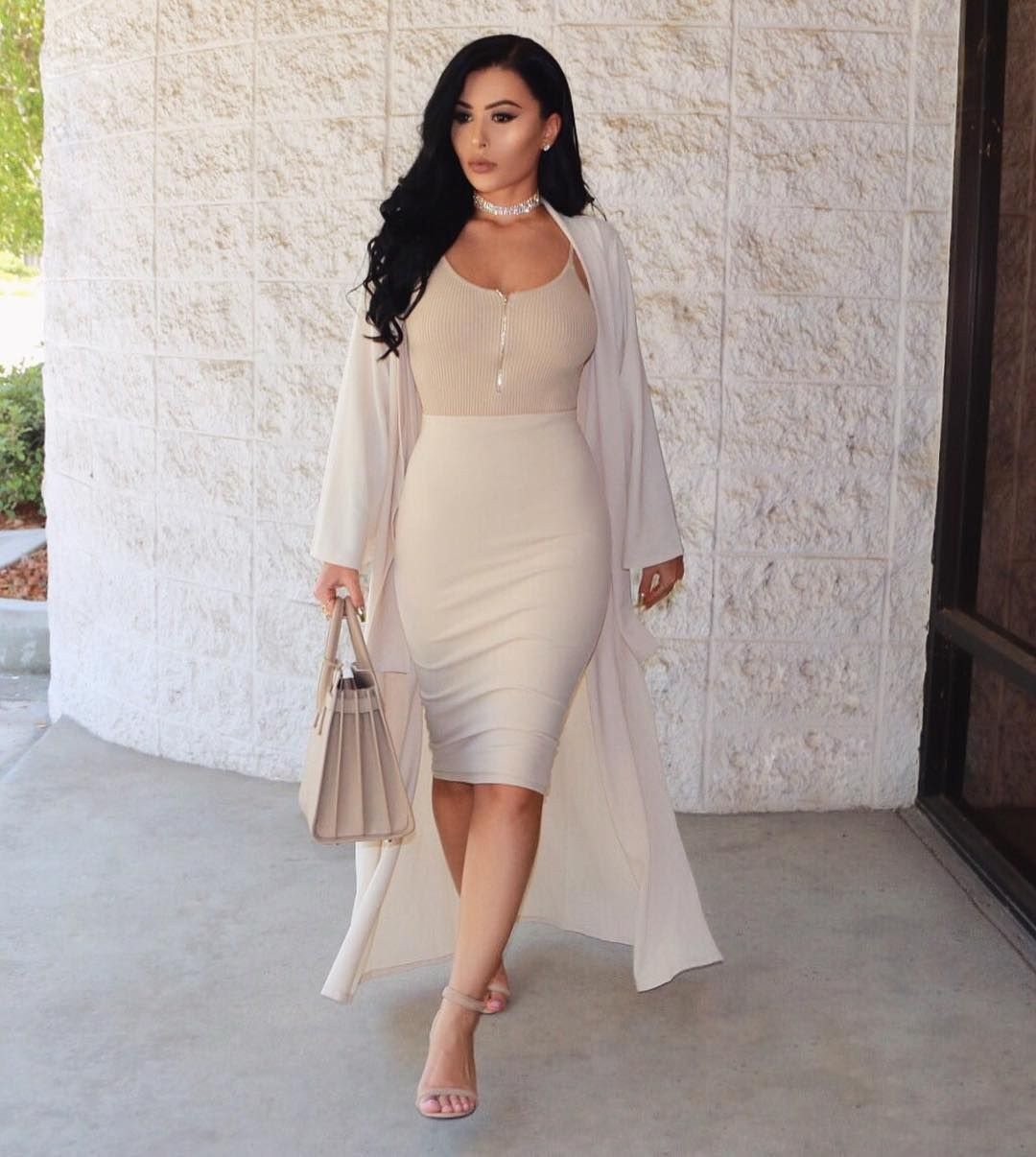 Beige pencil skirt outfit, Wedding dress
