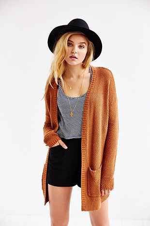 Superb style for orange cardigan outfit, Urban Outfitters BDG