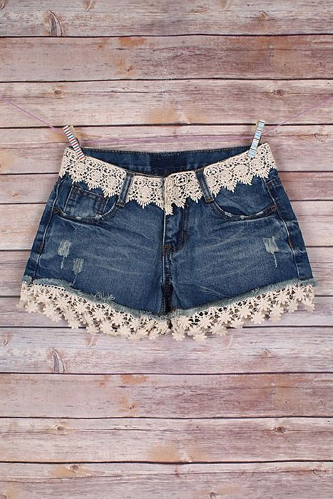 Outfits With Denim Lace Shorts, Twinset Denim Shorts, Lace Denim Shorts
