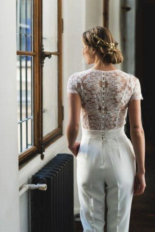 Absolutely nice and beautiful combinaison mariage blanche, Wedding dress