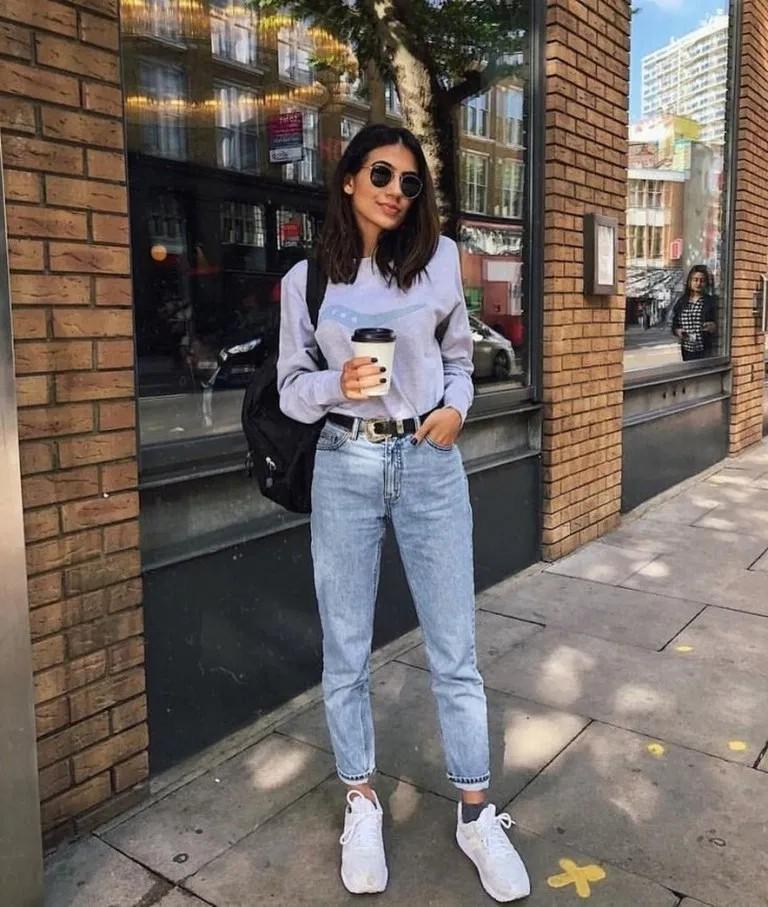 School Outfits Ideas, Mom Jeans Pants, Street fashion