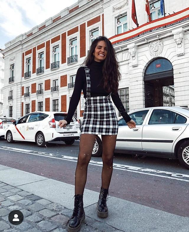 Combat Boots Outfit, Dr. Martens, Denim skirt